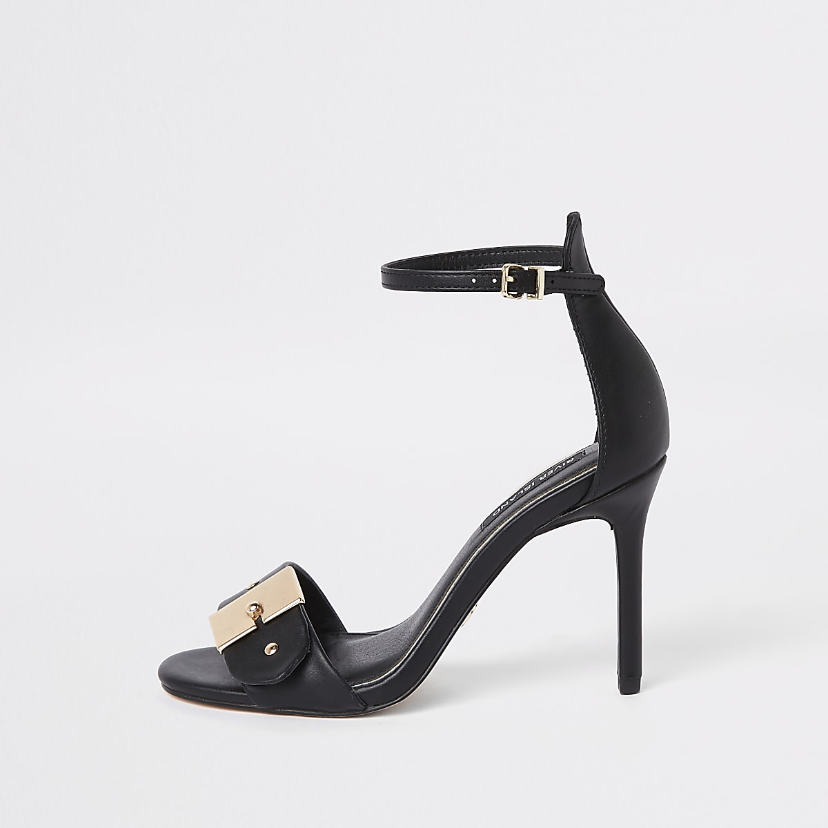 Black buckle barely there sandals