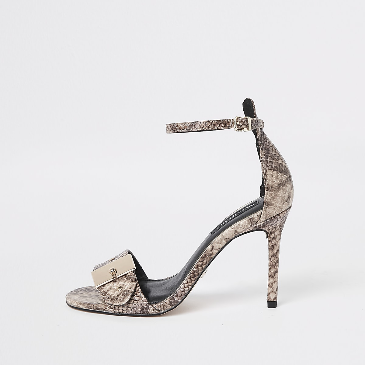 Beige snake buckle barely there sandals
