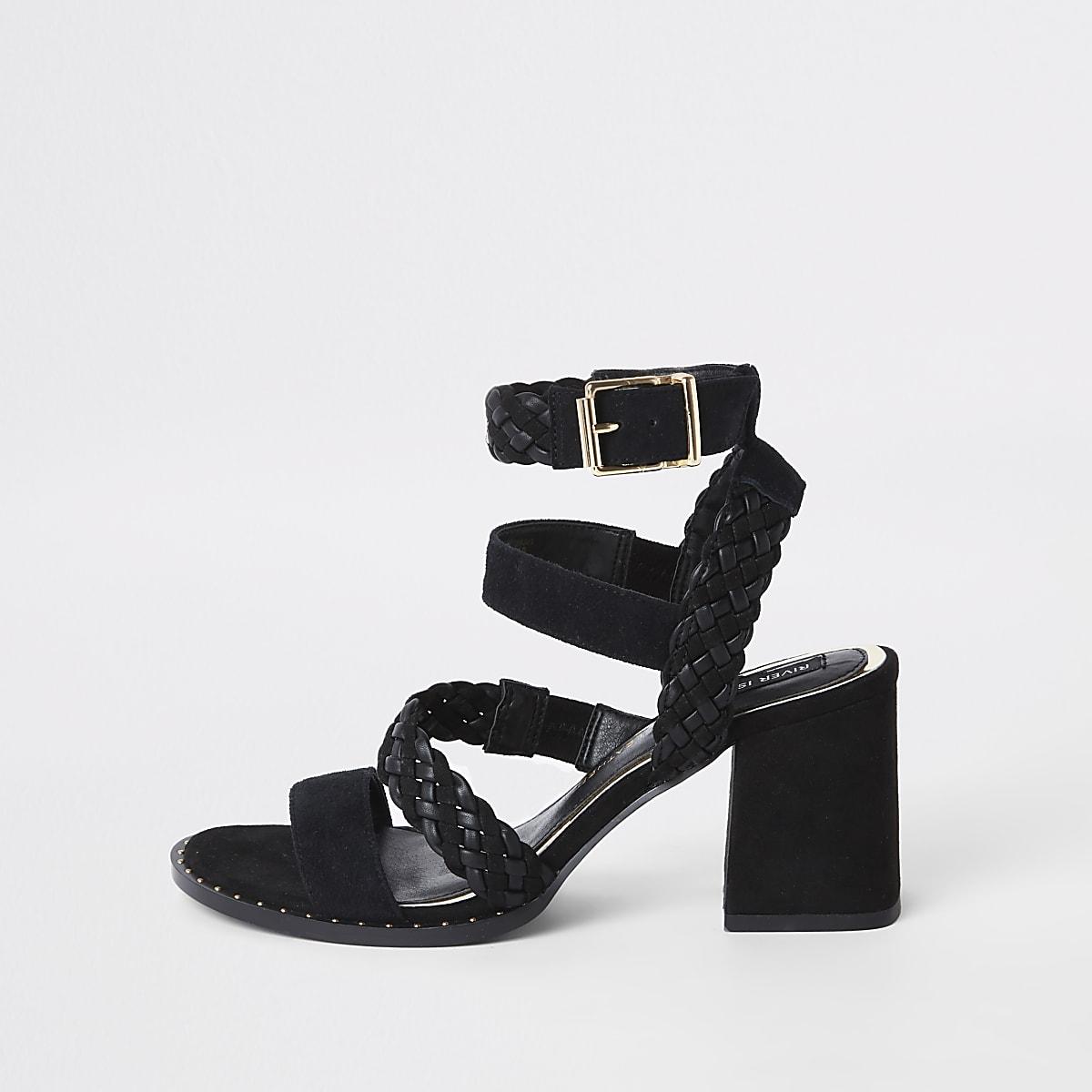 Sandales en cuir noir à brides et talons carrés