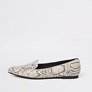 b687d9869 Beige snake embossed pointed toe loafers