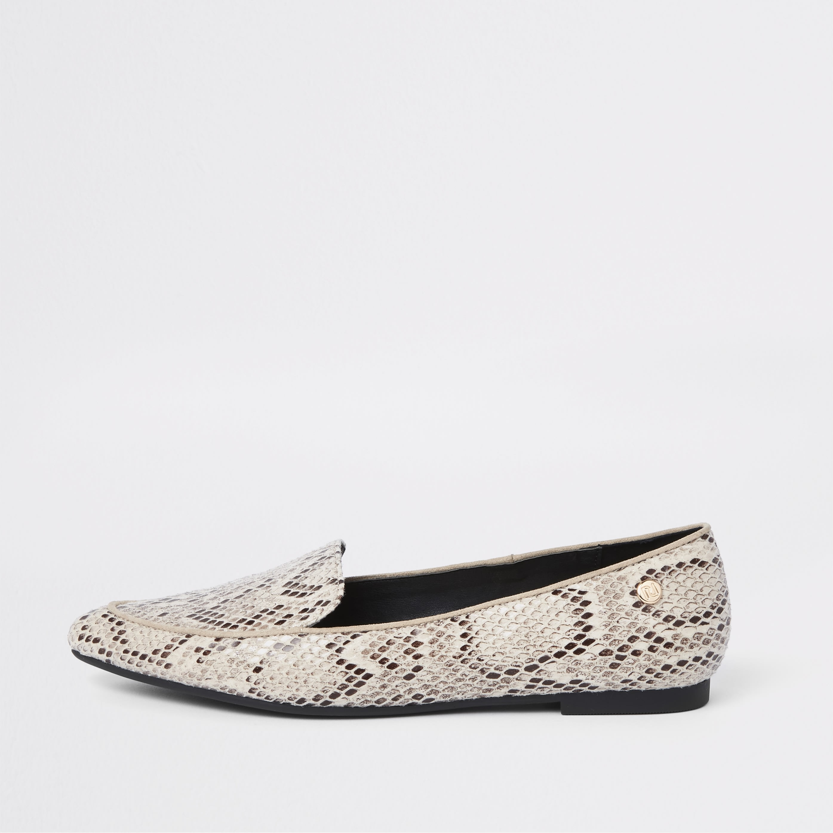 RIVER ISLAND | Womens Beige Snake Embossed Pointed Toe Loafers | Goxip