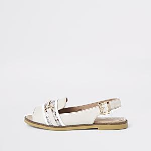 Weiße Loafer in Schlangenlederoptik