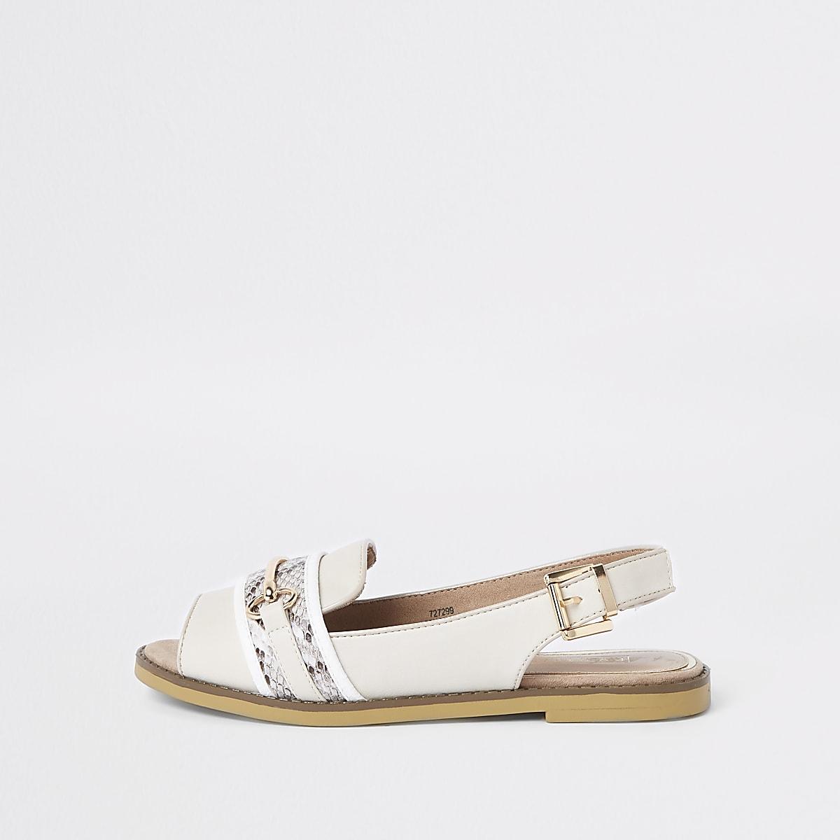 White snake print slingback peep toe loafers