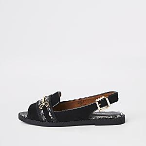 Zwarte slingback peeptoe loafers met slangenleerprint