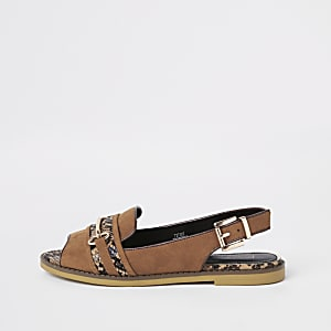 Brown snake print slingback peep toe loafers