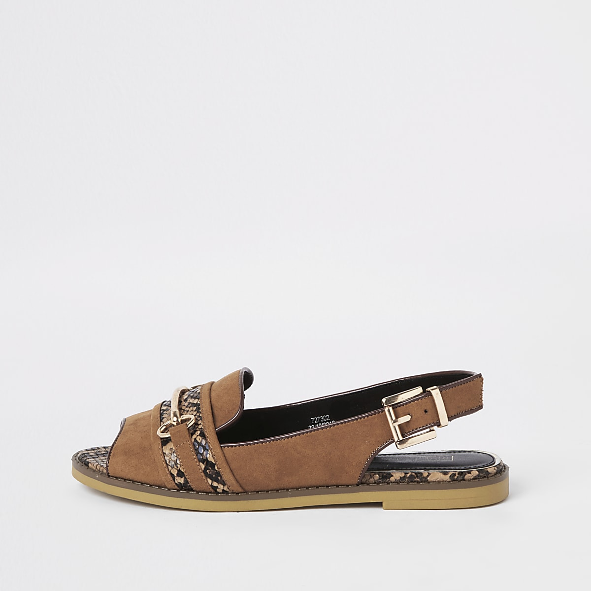Brown snake print slingback peep toe loafers