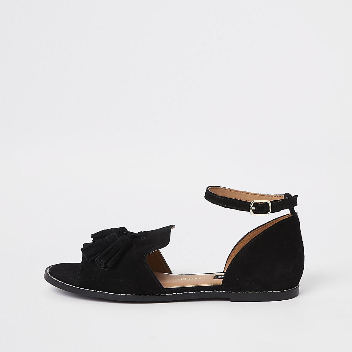 Chaussures en daim noires à pampilles en deux parties