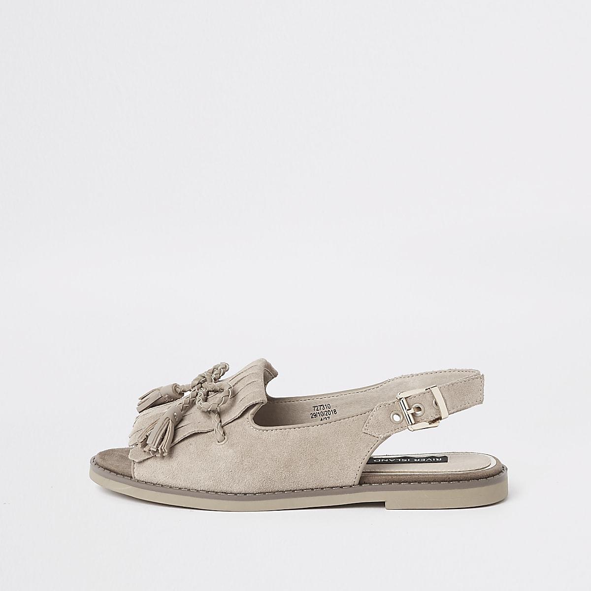 Beige suede tassel front peep toe sandals