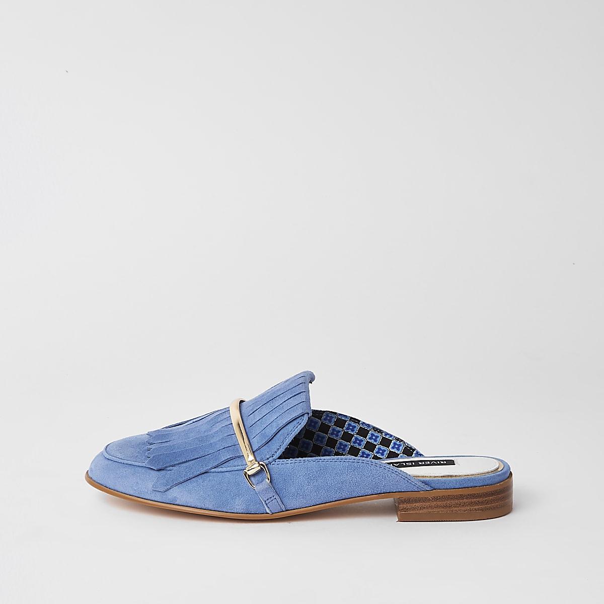 Blue suede tassel backless loafer