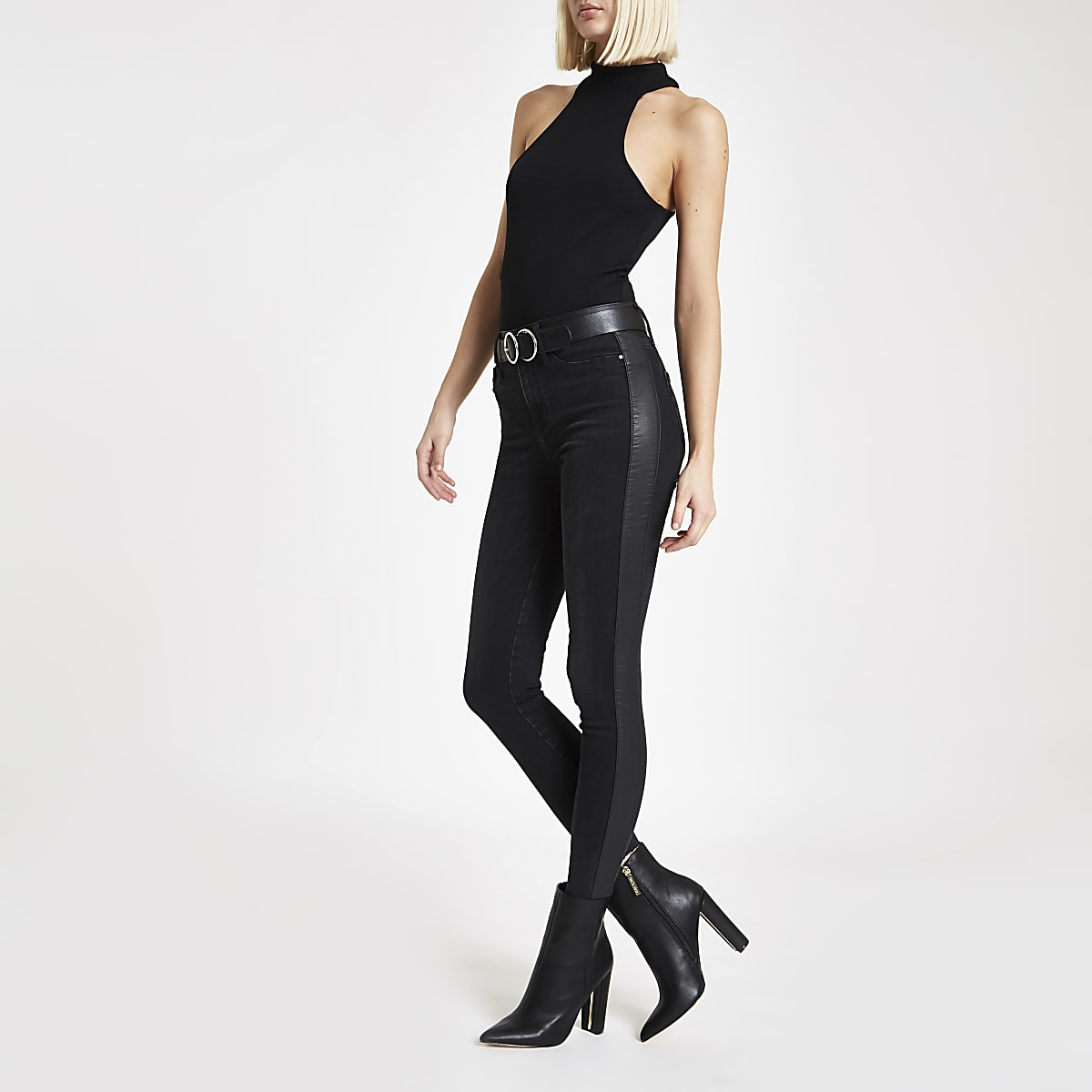 Black faux leather side stripe Molly jeggings