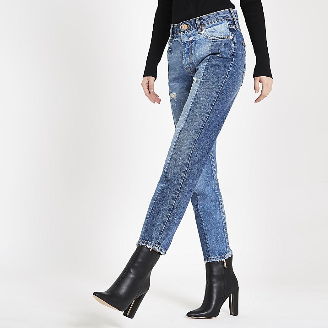Jean slim color block bleu moyen