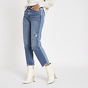 Middenblauwe jeans met rechte pijpen en onafgewerkte zoom