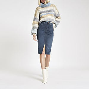 Blaugrauer Jeans-Bleistiftrock