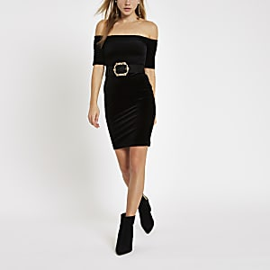 Black velvet bardot shirred bodycon dress