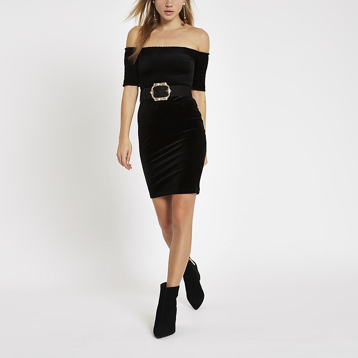 Black velvet bardot shirred bodycon dress