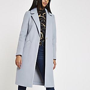 Blue single-breasted longline coat