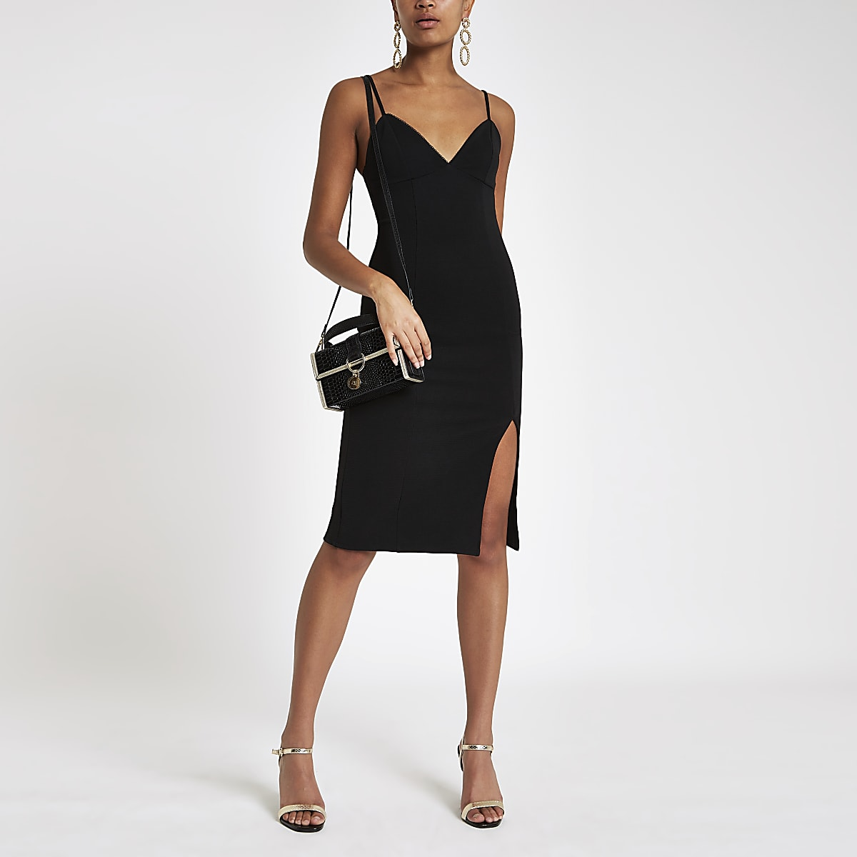 Black ribbed trim bodycon midi dress