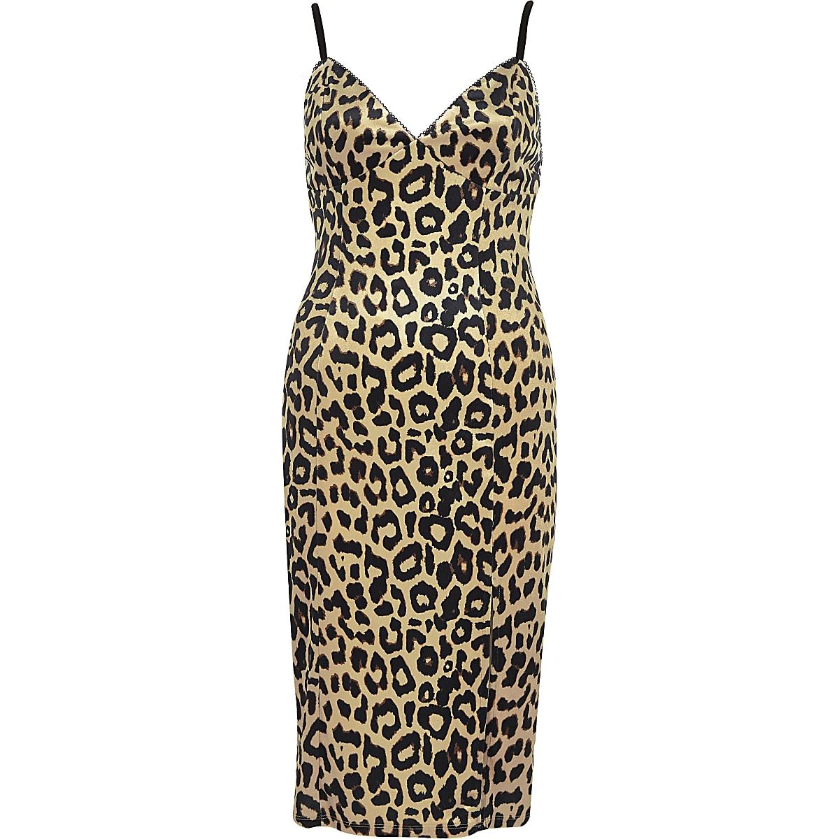 743b03ef4c61 Brown leopard print bodycon midi dress - Bodycon Dresses - Dresses ...