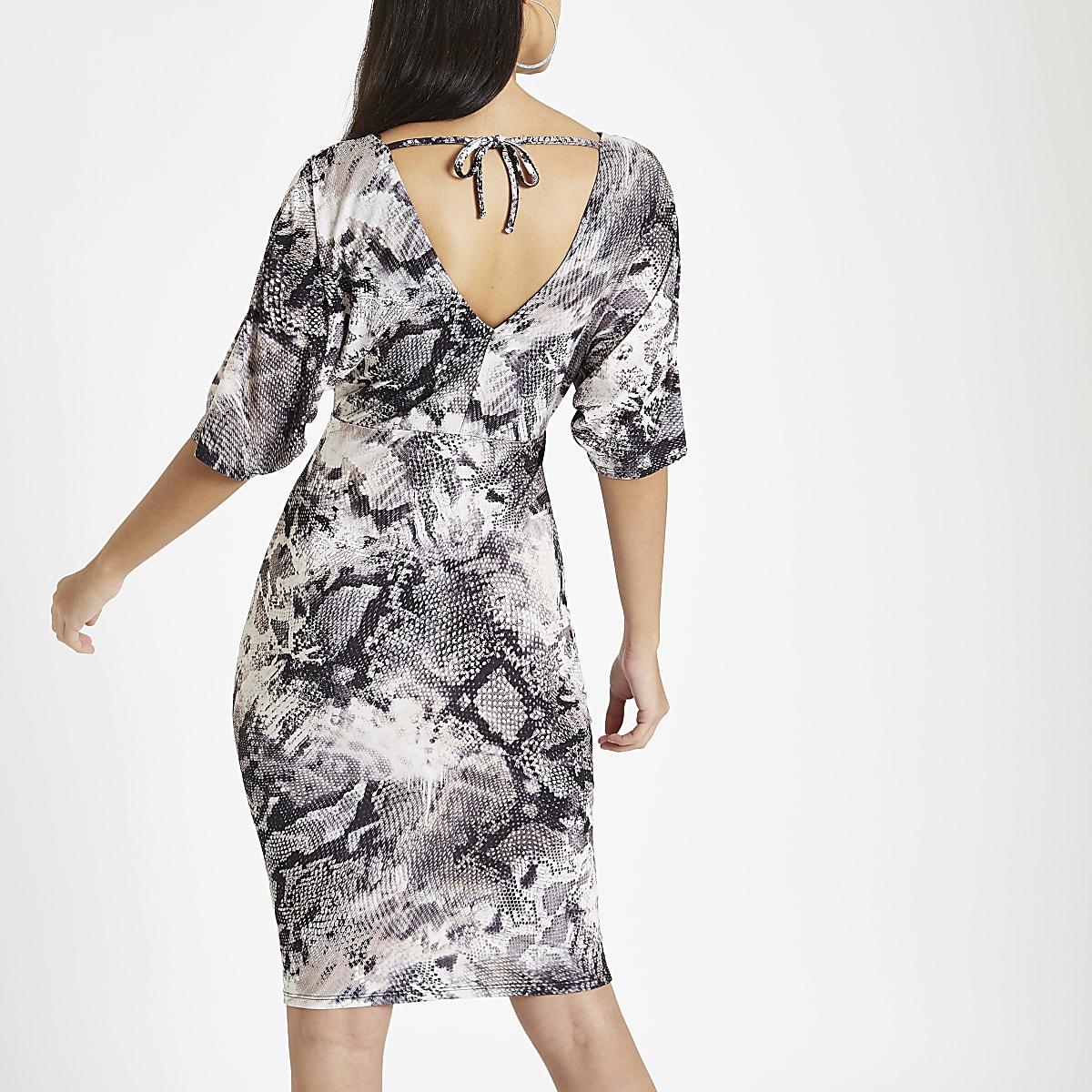 c0a1b068cab098 Grijze midi-jurk met overslag en slangenprint - Bodyconjurken ...