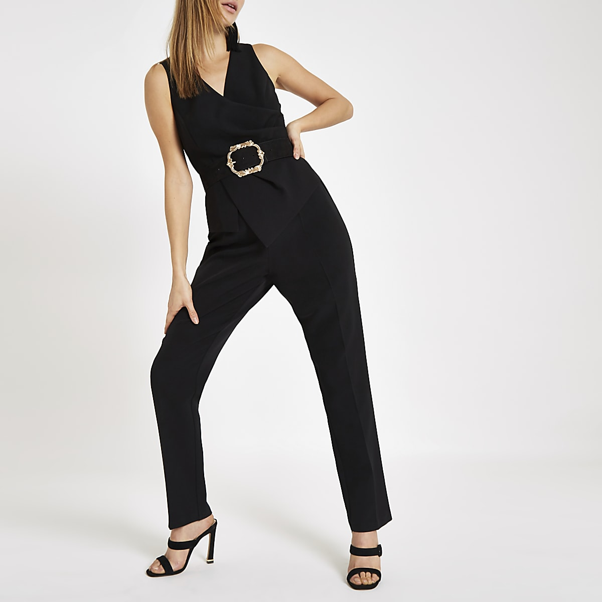 Black wrap front tapered leg jumpsuit