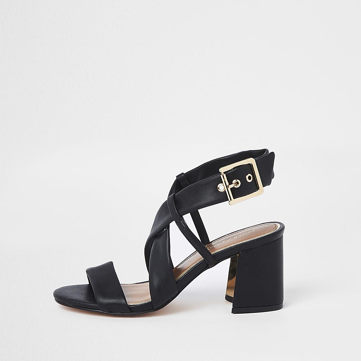 Black cross strap block heel sandals