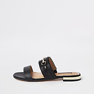 Black snaffle trim mule sandals
