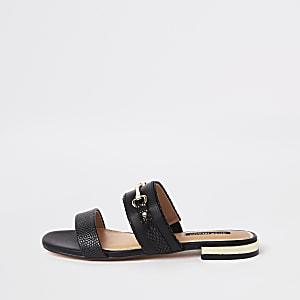 Sandales noires à mors style mules