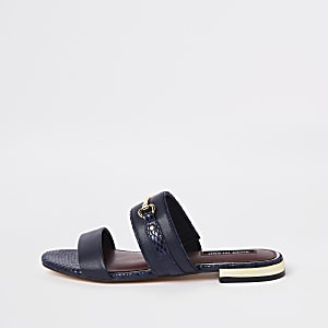 Navy snaffle flat sandals