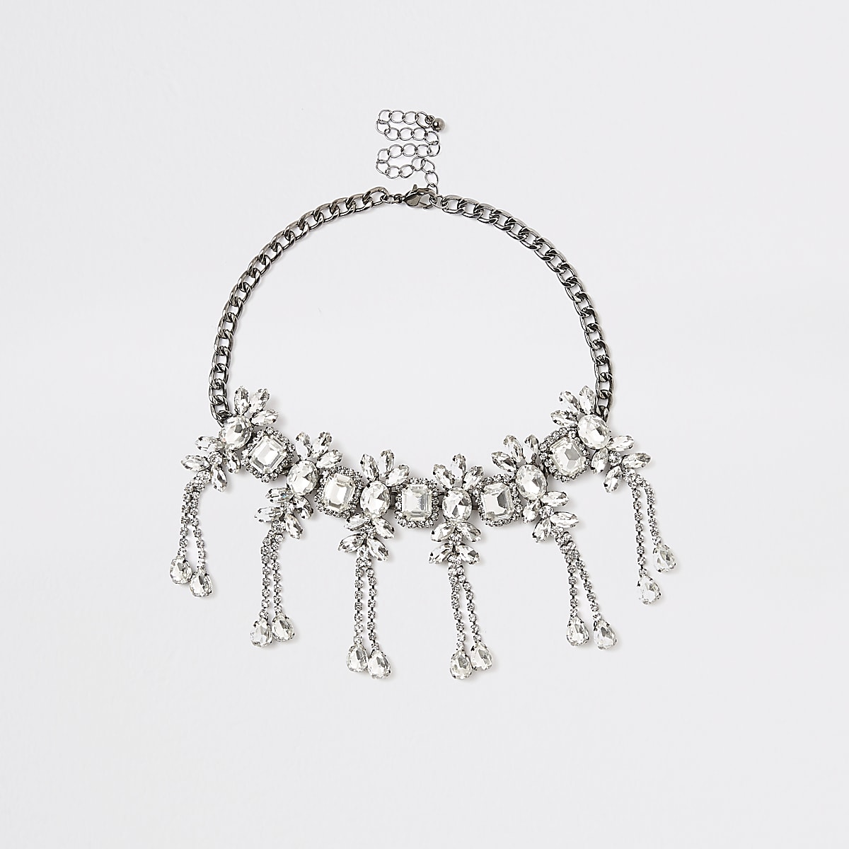 Dark grey diamante jewel embellished necklace