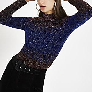 Navy knit stripe tinsel jumper