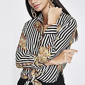 White stripe print tie front shirt