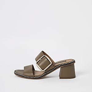 Green leather ball trim block heel mules