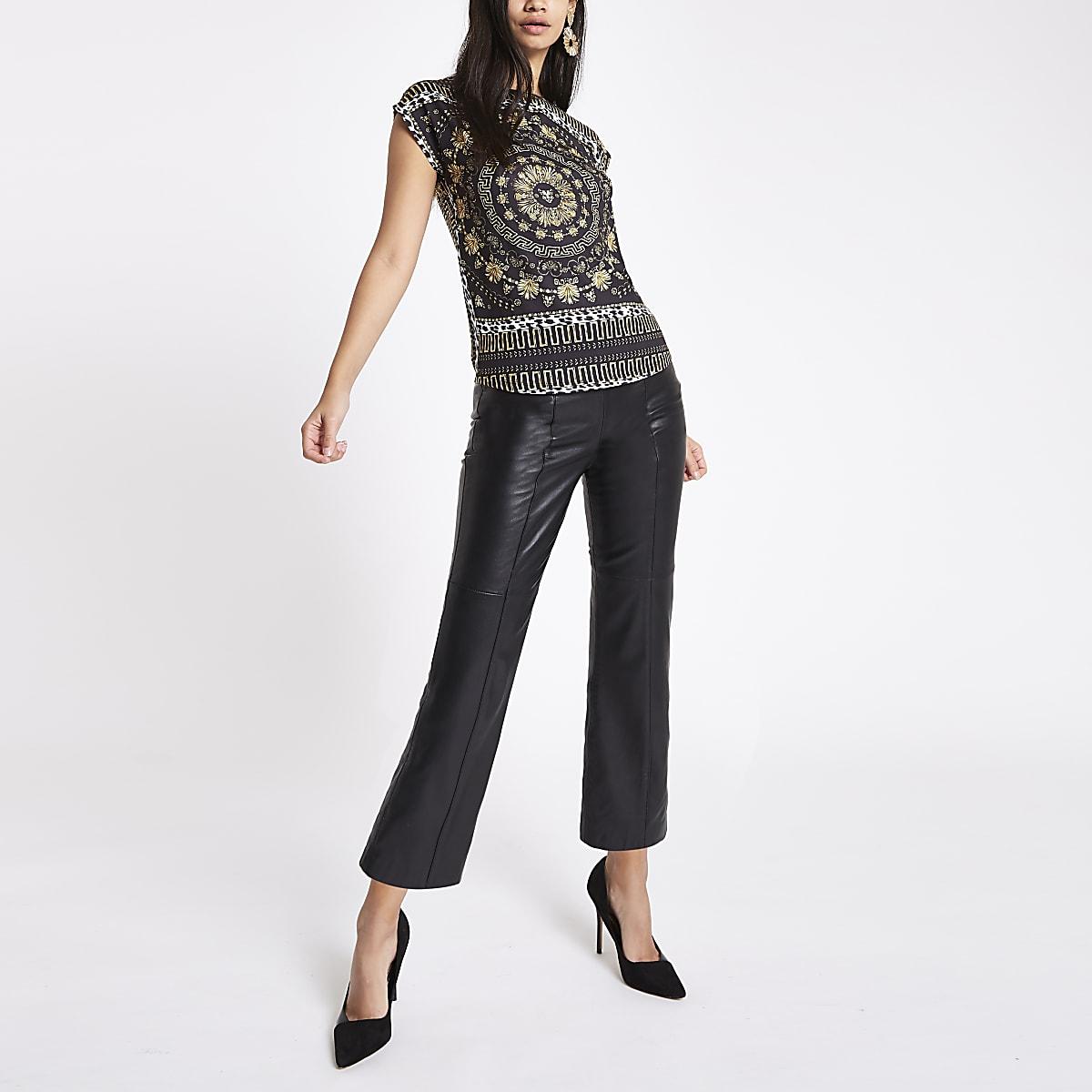Zwart T-shirt met sjaal- en luipaardprint