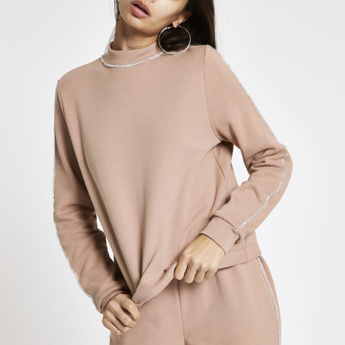 Pink diamante trim sweatshirt