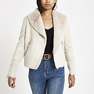 a957d67831 Petite cream faux fur lined fallaway jacket
