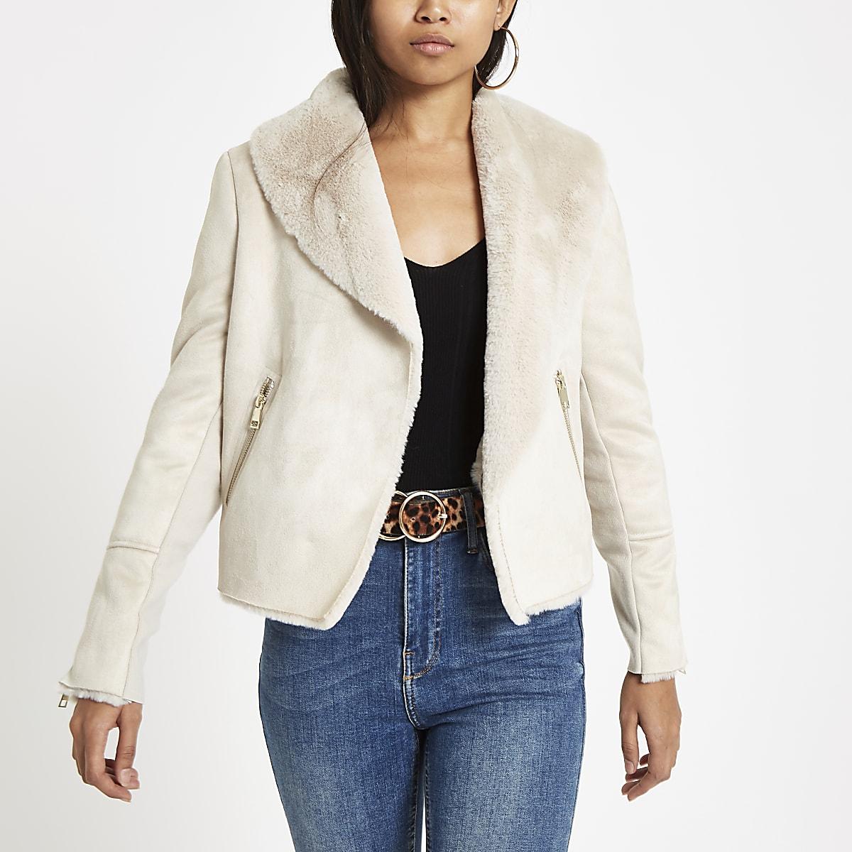 Petite cream faux fur lined fallaway jacket
