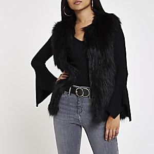 Petite black faux fur vest