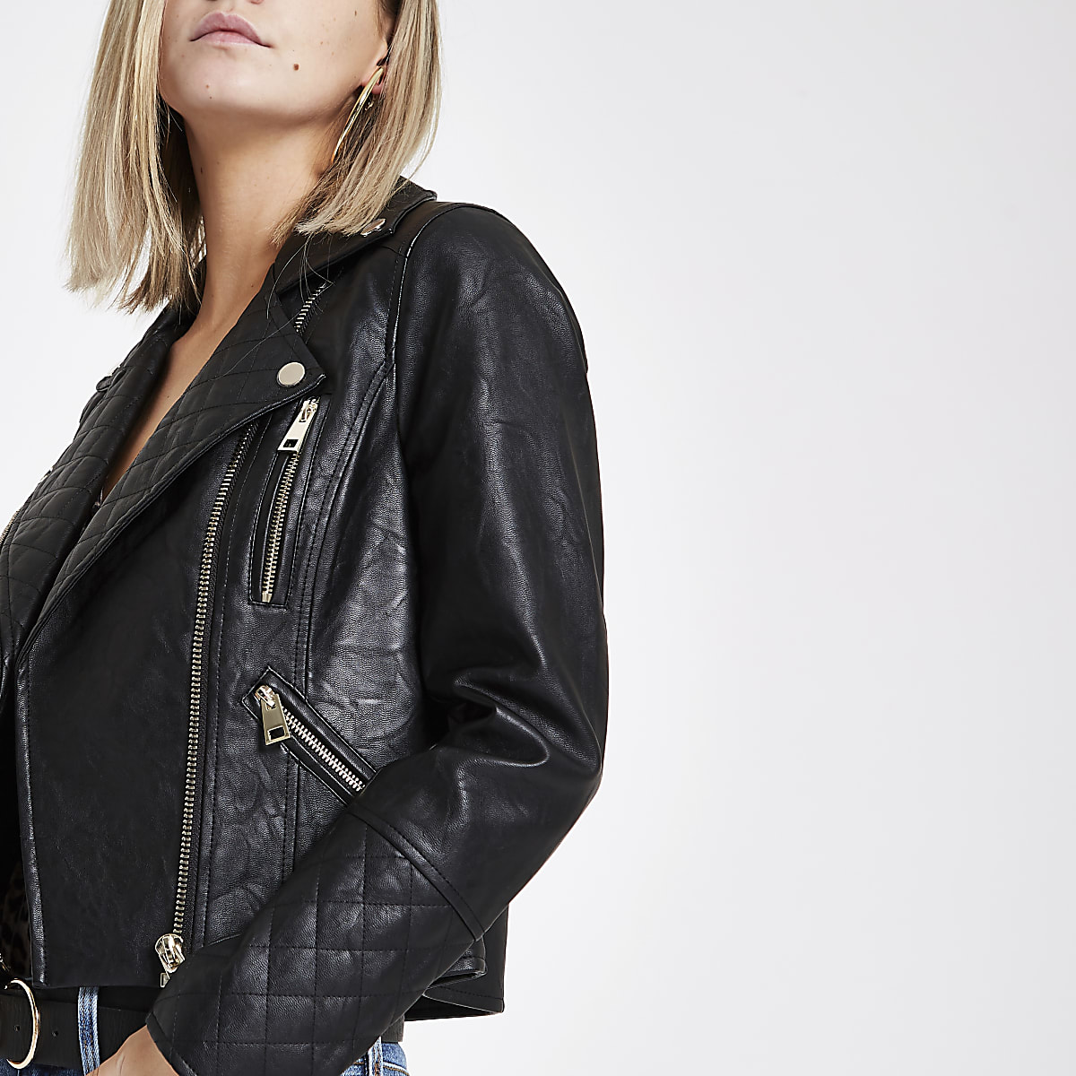 Petite black faux leather biker jacket