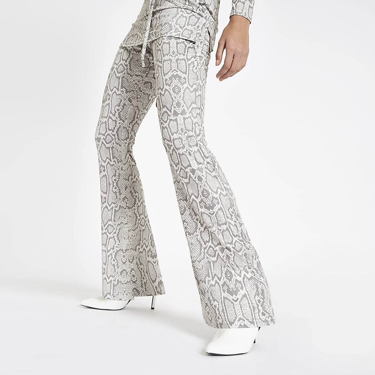 55a946ac0d Grey snake print flared jersey trousers - Clothing - Coordinates & Matching  Sets - women