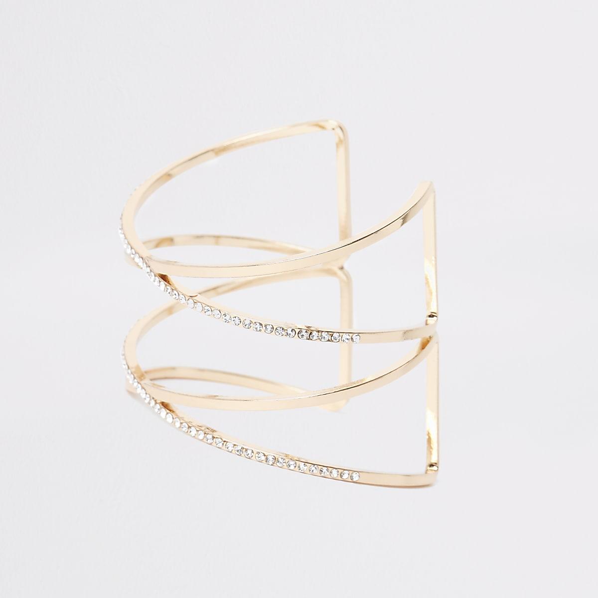 Gold color rhinestone cuff bracelet