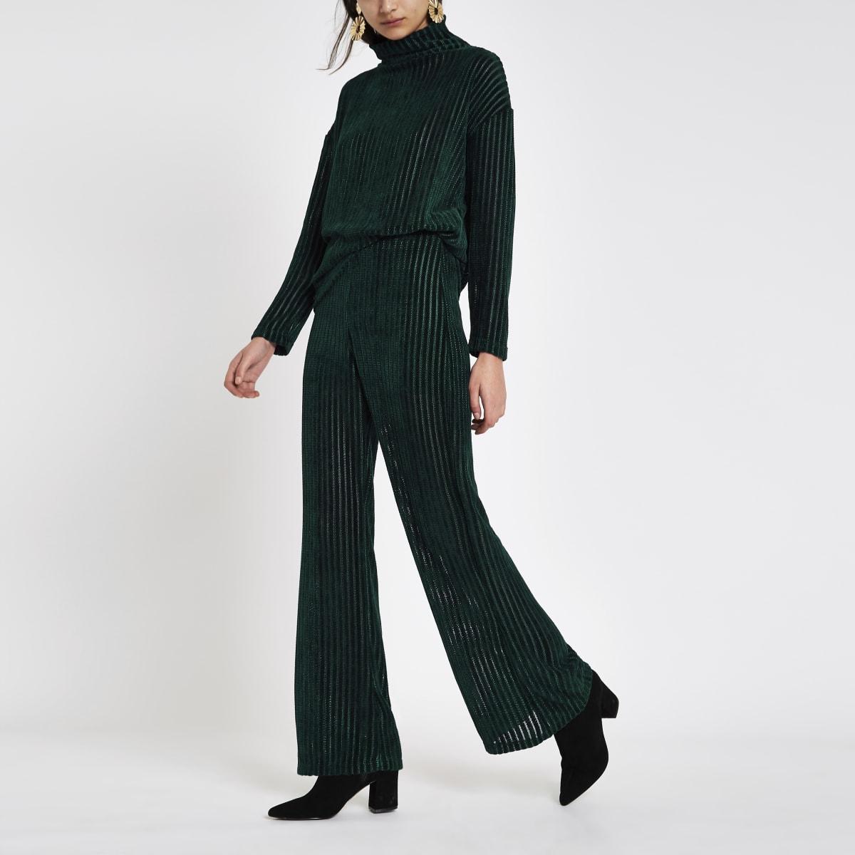 Dark green pull on wide leg trousers