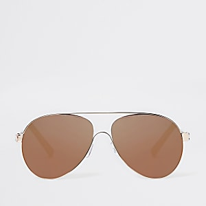 Rose gold brown lens aviator sunglasses