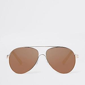 527c530da7d4 Rose gold brown lens aviator sunglasses