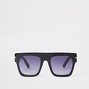 Zwarte oversized zonnebril met getinte glazen