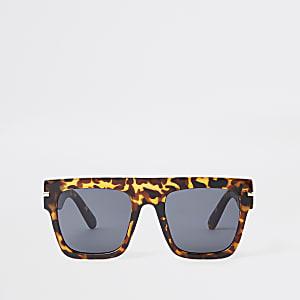 Brown leopard smoke lens visor sunglasses