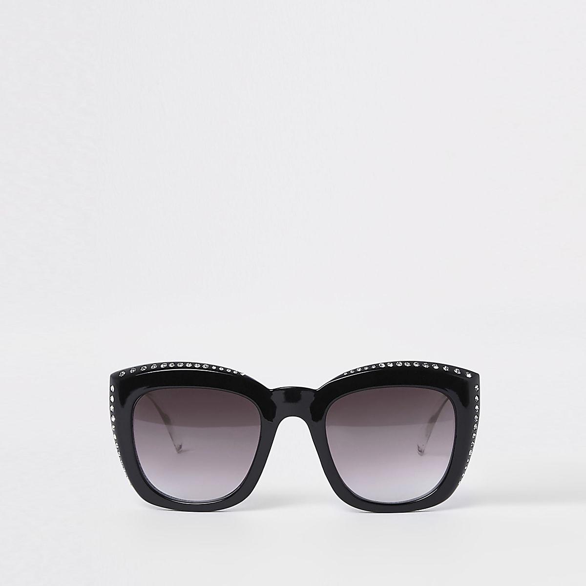 Black rhinestone studded glam sunglasses