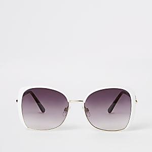Lunettes de soleil oversize blanches glamour à logo RI
