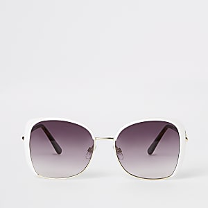 Witte glam oversized RI-zonnebril