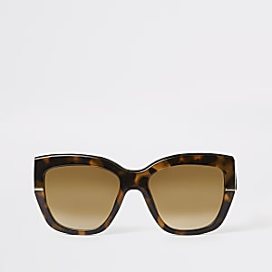 Brown tortoiseshell gold tone glam sunglasses