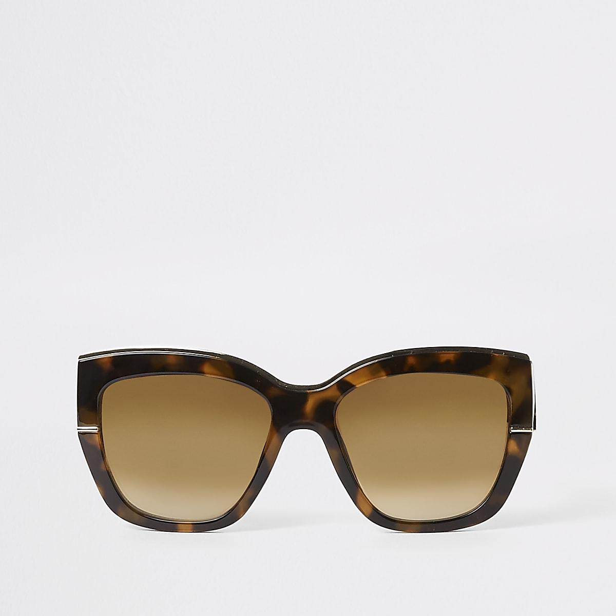 196ae70aba95b2 ... Bruine goudkleurige glamour zonnebril met tortoise-effect ...